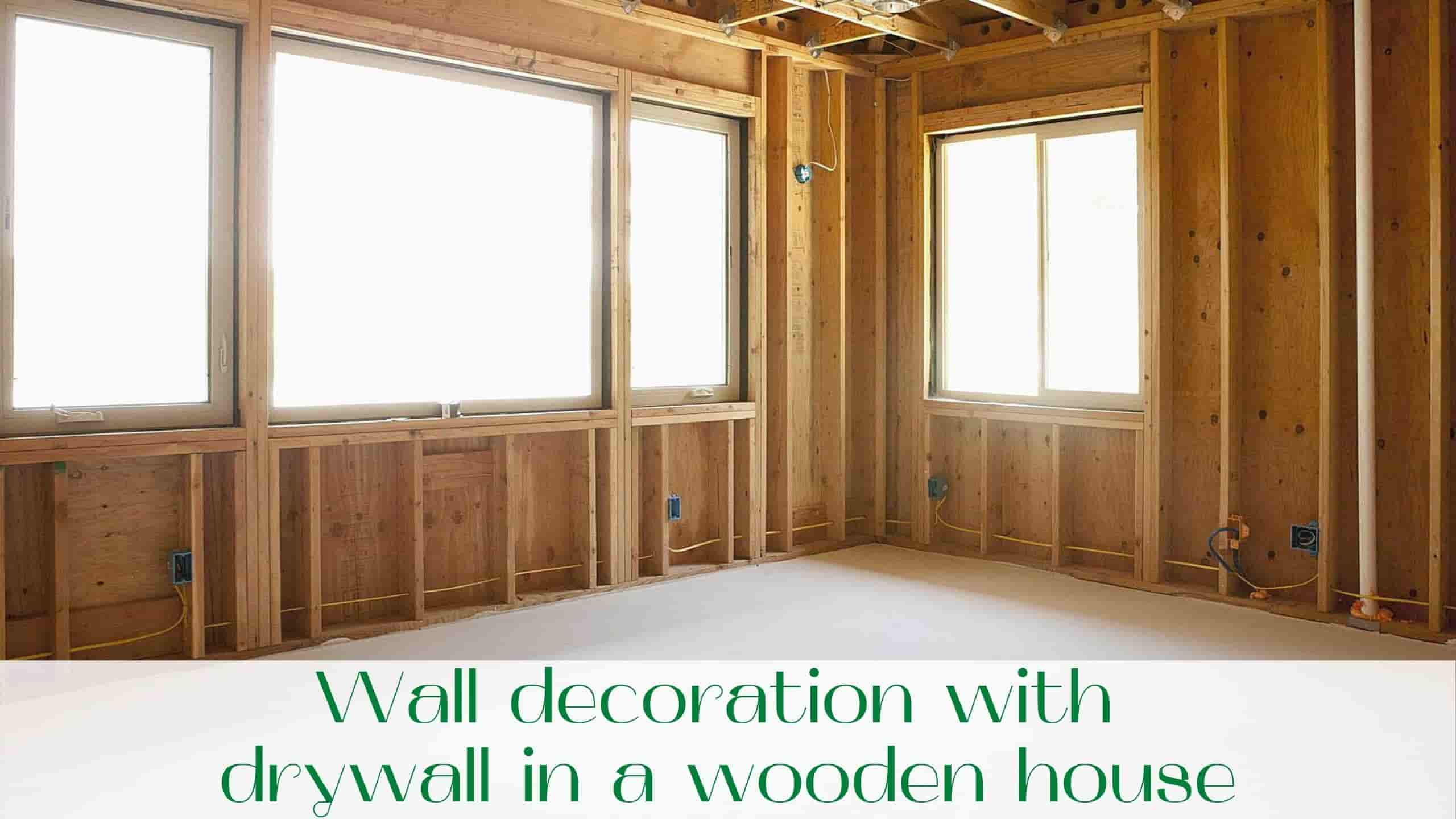 image-Wall-decoration-with-drywall-in-a-wooden-house